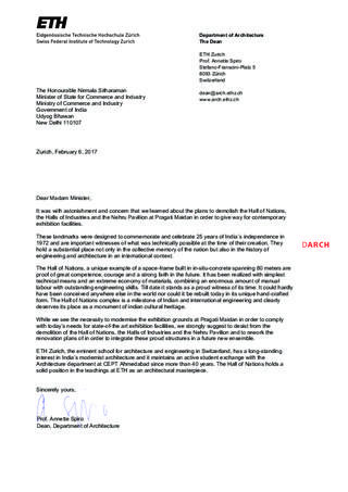 Prof. Annette Spiro  Dean, Department of Architecture, ETHZ Zurich to the Minister of State for Commerce and Industry