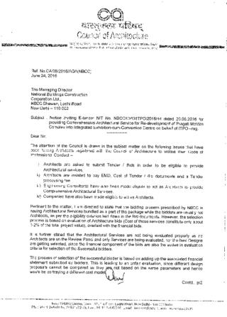 Letter sent on 24th June 2016 by Registrar, Council of Architecture to The Managing Director, NBCC