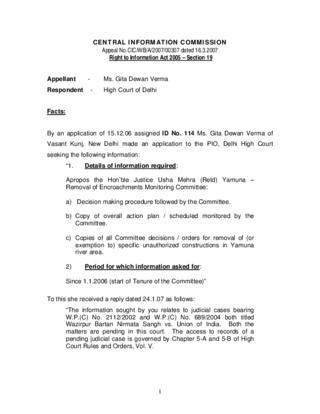 Appeal No.CIC/WB/A/2007/00307 about Usha Mehra Committee - Yamuna Encroachments Removal monitoring committee