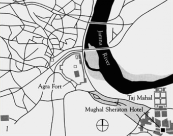 Agra and environs showing the relationship of the hotel to Taj Mahal