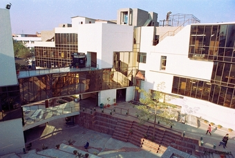 1988: National Institute of Fashion Technology, New Delhi He believed an institute of fashion technology can express its function through a non-linear and random character. That it should diffuse time, place and space. Hence, the campus was divided into d