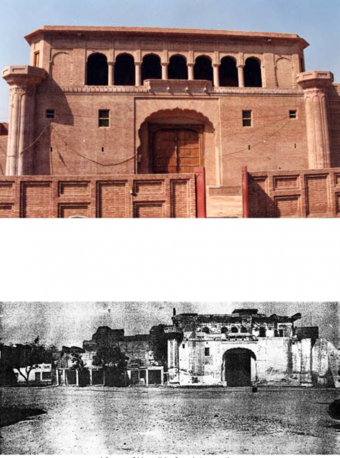 Views of the haveli after and before intervention