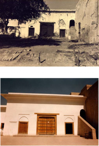 Inside views of entrance gateway before and after conservation