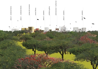 Silhouette of the Campus from the Aravalli Biodiversity Park
