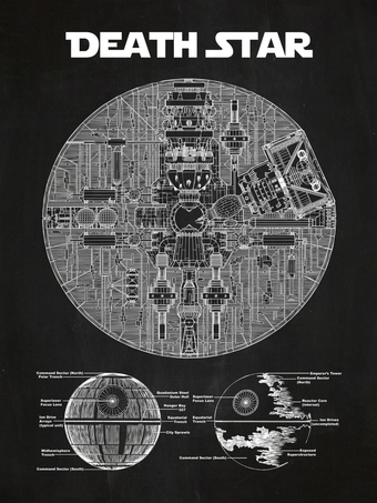 Blueprints of the Death Star, perhaps the most recognizable object created by students of Frank Lloyd Wright in the late 1970s
