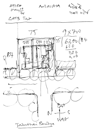 """""""ATIRA, May 10th '74: GATB Test"""": Sketch plan with dimensions and calculations"""
