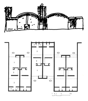 Elevation and Plan: (1) Living  (2) Kitchen, (3)Rear Court, (4)Bathroom, and (5)Toilet