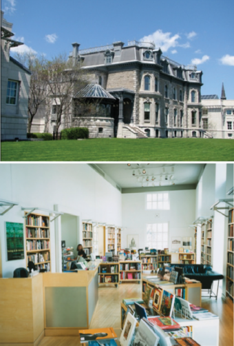 The building for Canadian Centre for Architecture (top) and  The library, Canadian Centre for Architecture