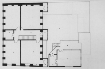 First floor plan of house, (1) Room; (2) Toilet; (3) Bath; (4) Store; (5) Passage; (6) Terrace; (7) Cut-Out; (8) Shelf
