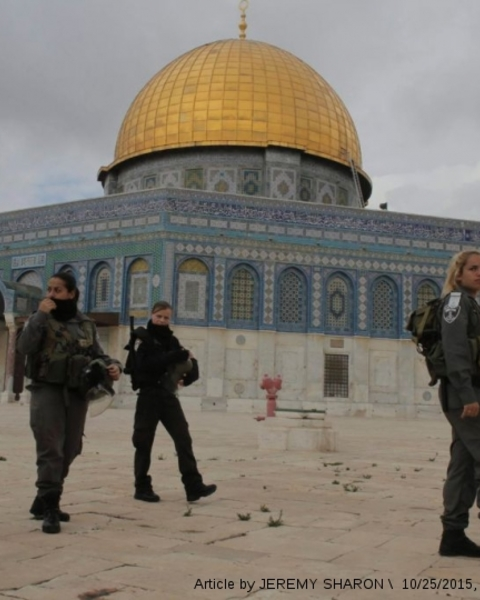 Temple Mount activists: Prayer ban for Jews is discrimination - Border Police officers patrol Temple Mount.