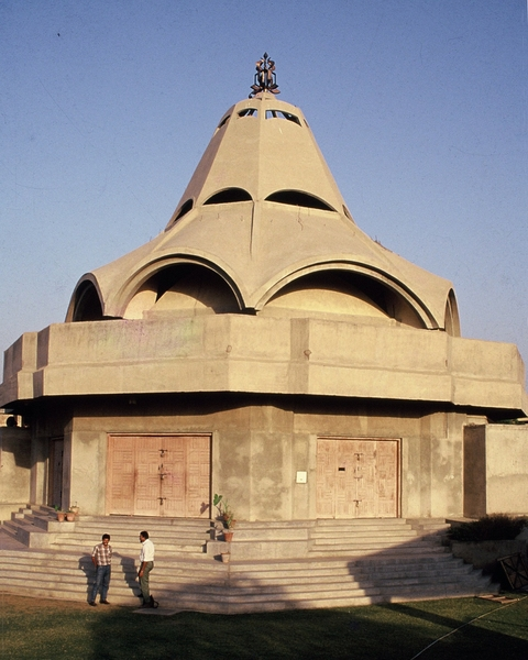 The challenge of reinventing the traditional temple form was taken up in the explorations of the form of the shikhara in reinforced concrete conoid shells...