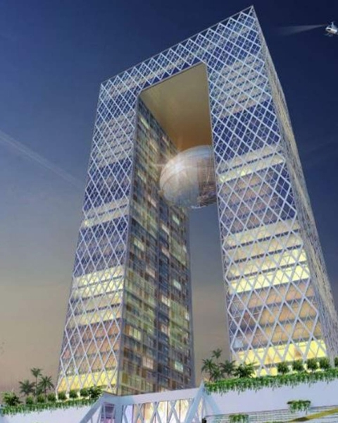 """This unique iconic structure will be 158 meters/33 floors high in the form of the letter """"A"""" to represent Amaravati and a hanging globe in the centre to represent worldwide presence of NRTs."""