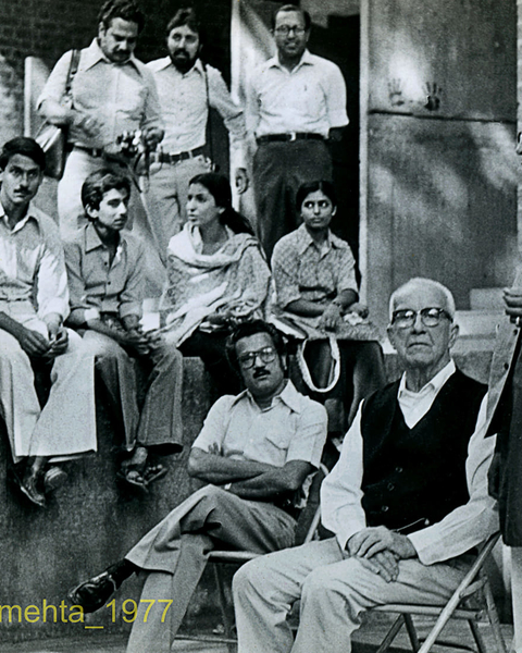 B  V Doshi, Buckminster Fuller, H C Patel, Dr. Panubhai Bhatt, Proff. Lavingya with Students at Centre foe Environmental Planning and Technology, Ahmedabad, 1977