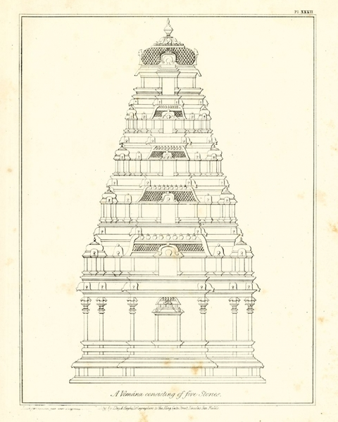 """A Vimana consisting of three stories,"" (from Ram Raz, Essay on the Architecture of the Hindus [London: Royal Asiatic Society of Great Britain and Ireland, 1834], plate XXVI)"