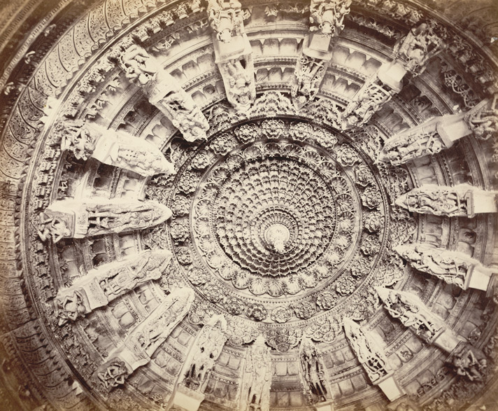 """Plate IX. The Ceiling of the Dome in Burgess, James. """"The Temples of Delwada."""" In Photographs of Architecture and Scenery in Gujarat and Rajputana,"""