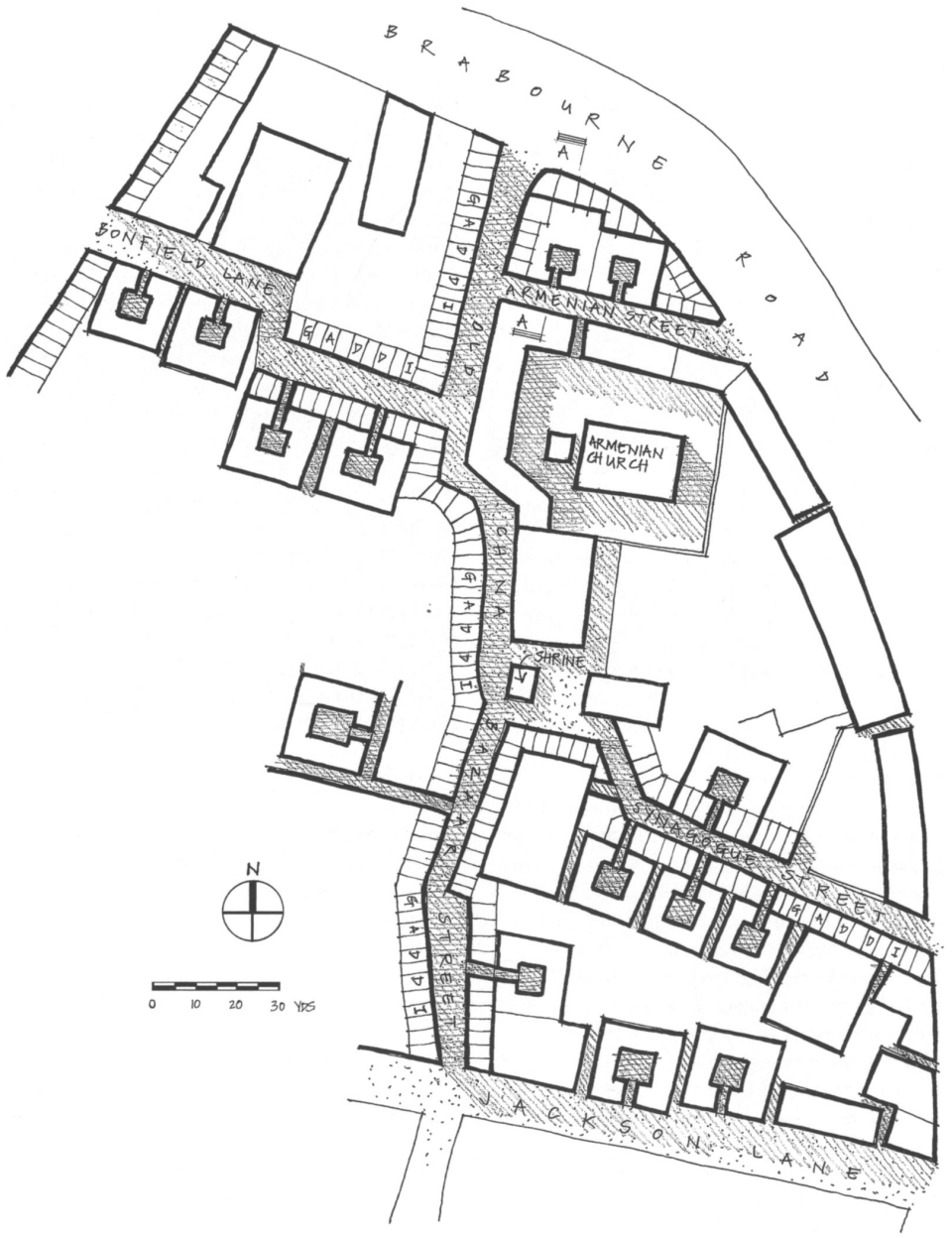 Plan of Old China Bazaar. (Surveyed by the author, April 2003.)