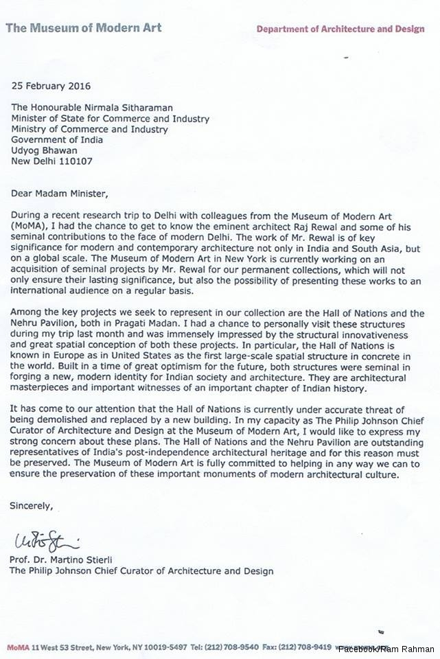 MoMA chief curator of architecture's letter to Nirmala Sitharaman.