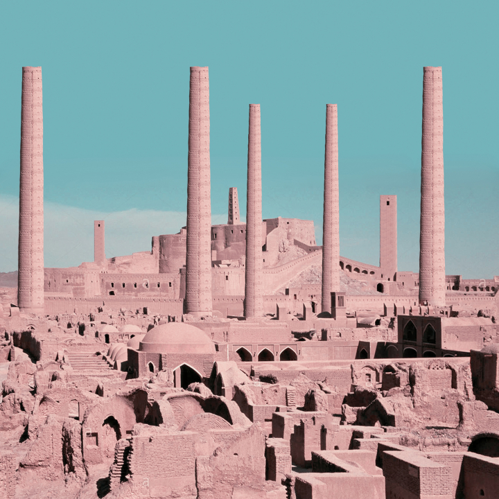 Chimey-like towers in Arg-e-Bam