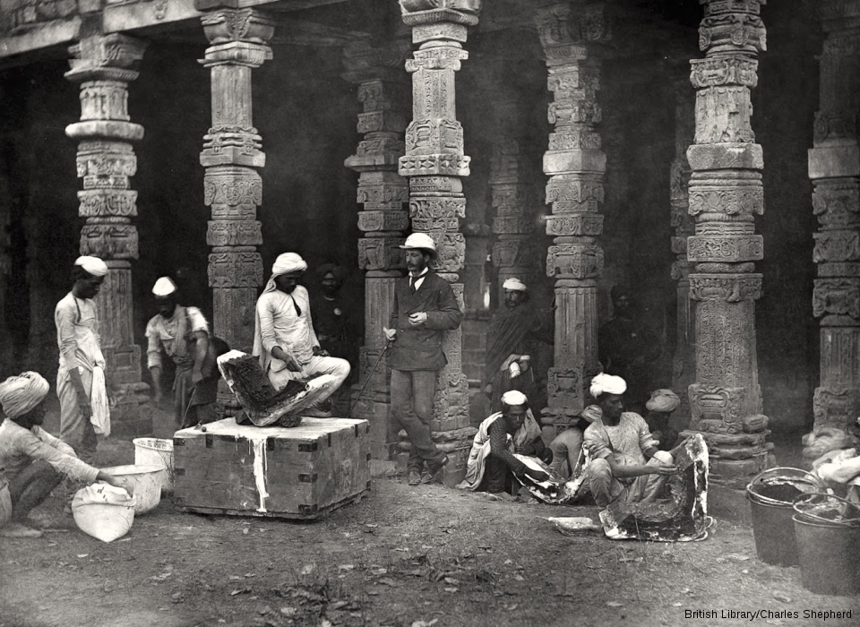 Group of moulders at work at the Kutb [Delhi]
