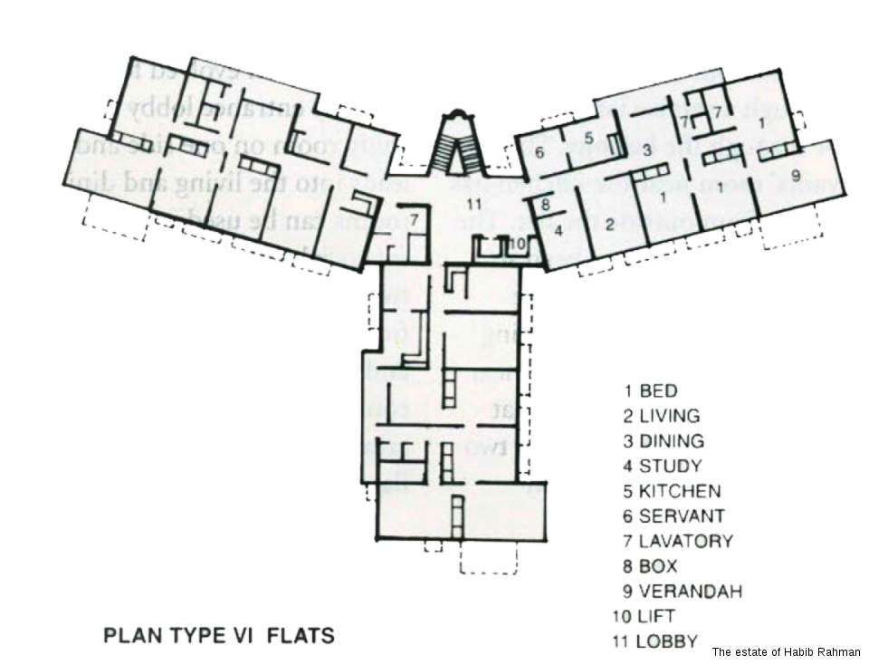 Plan type VI, Multi-Storeyed Flats. Ramakrishnapuram, New Delhi, 1965