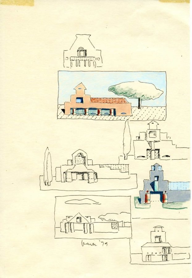 Drawing by Michael Graves, Sketchbook drawing, 1979. Pen, colored pencil, and oil pastel on paper