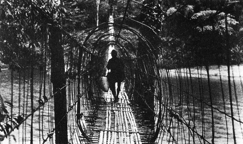 The numerous tribes of the Northeast have their own distinctive building techniques. Thus the Adi Gallongs construct suspension bridges (above), often more than 200 metres long, made up of a series of cane hoops.