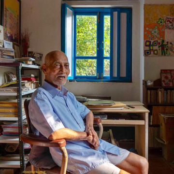 Architect Sarto Almeida, photographed in 2018 at his home in Goa