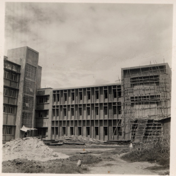 Shots of Bengal Engineering College, Shibpur, Calcutta, under construction. Early 1950s