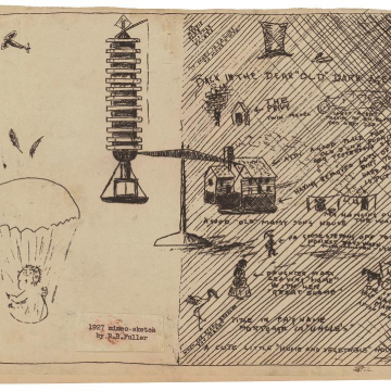 Buckminster Fuller. Comparison of Lightful Tower and traditional home (1927).