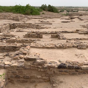 Panoramic views of the fortified Citadel at Dholavira with 7 layers of occupation (approx. 2600 - 1900 BCE)